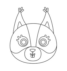 squirrel muzzle icon in outline style isolated on vector image
