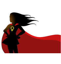 Superheroine in red cape with female symbol vector