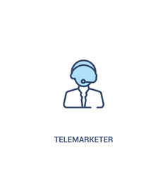 Telemarketer concept 2 colored icon simple line vector