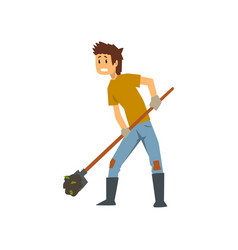 Tired farmer digging the earth with a shovel hard vector