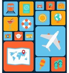 travel icons flat set vector image