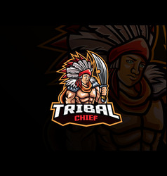 tribal chief mascot esport logo design vector image