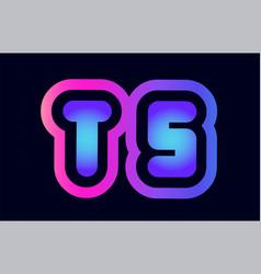 ts t s pink blue gradient alphabet letter logo vector image