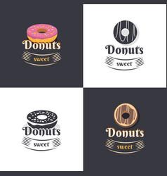 Vintage logos donuts vector