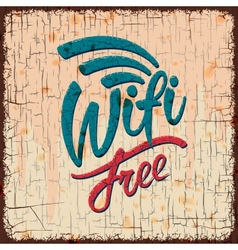 Vintage sign with Free wifi symbol vector