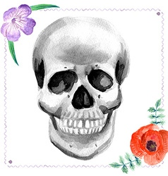 Watercolor human skull with flowers vector image