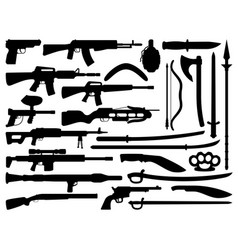 weapon gun knife rifle and shotgun silhouettes vector image