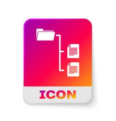 White folder tree icon isolated on white vector