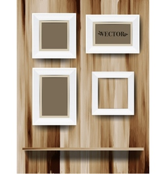 White modern frames on the wood wall vector image vector image