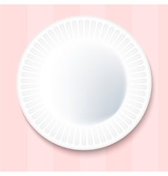 White paper plate isolated on pink background vector