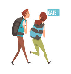 young man and woman running with their backpacks vector image