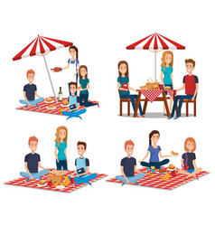Young people in picnic day scene vector
