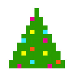 christmas tree pixel art cartoon retro game style vector image vector image