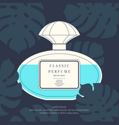 Classic retro bottle of perfume on a tropical vector