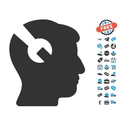 Head Surgery Wrench Icon With Free Bonus vector image vector image