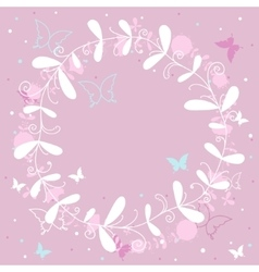 Pink background with butterflies vector image