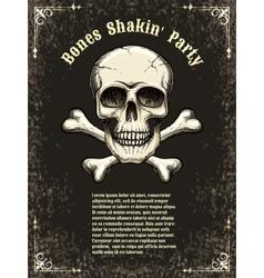 skull frame poster template vector image vector image