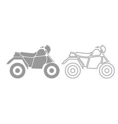atv motorcycle on four wheels grey set icon vector image vector image