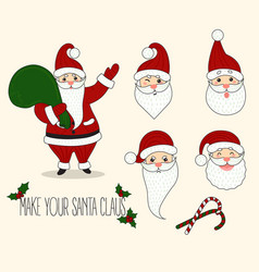 cartoon santa claus different emotions vector image vector image