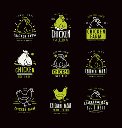 chicken farm labels and emblems vector image vector image