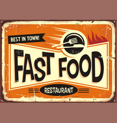 fast food restaurant vintage tin sign design vector image vector image