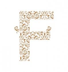 floral letter f ornament font vector image vector image