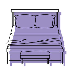 bed wooden with blanket and pair pillows with vector image