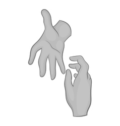 Hand reaches out to other hand icon vector