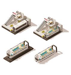 isometric low poly subway station cutaway vector image vector image