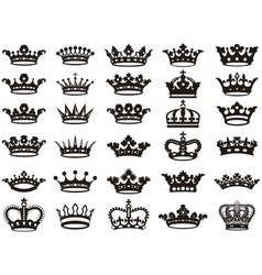 Silhouettes crowns set bw vector image vector image