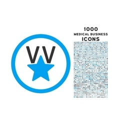 Victory Star Rounded Icon with 1000 Bonus Icons vector image