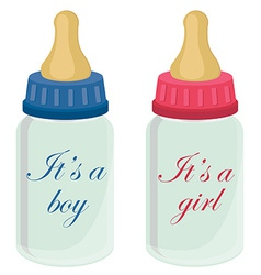 Baby bottles with text vector image vector image