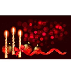 Christmas red background with candle and ribbons vector image vector image