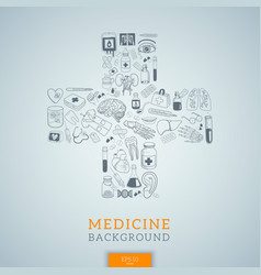 medicine icons in cross shape vector image