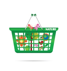 nature basket with butterfly vector image