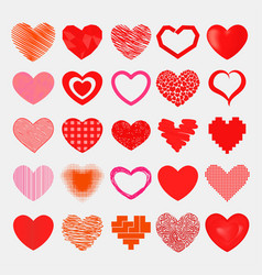 red hearts sharp simple red icon color vector image