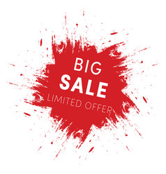 red ink splash big sale tag template limited vector image vector image