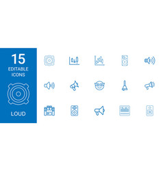 15 loud icons vector image