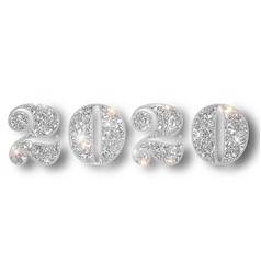 2020 glitter typography design template silver vector