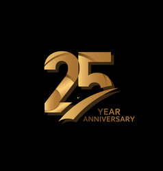 25 years gold elegant anniversary celebration vector