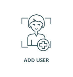 add user line icon outline concept linear vector image