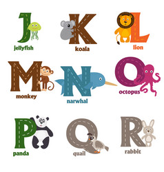 Alphabet with animals j to r vector
