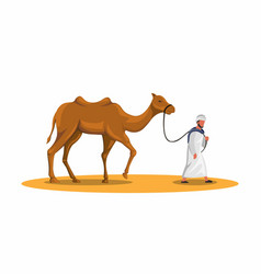 arabic man walking with camel in dessert sand vector image