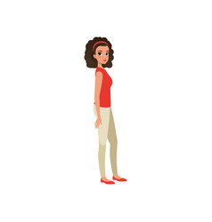 beautiful curly-haired woman standing sideways vector image