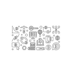 Bitcoin minimal banner crypto currency vector