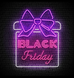 black friday red neon sign with white present box vector image