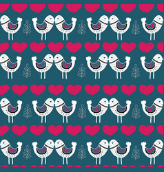 blue scandinavian love birds pattern design vector image