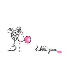 bubble gum balloon sketch young girl vector image