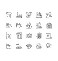 building projects line icons linear signs vector image