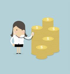 Businesswoman financial health check vector